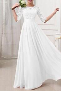 Weiß Spitze Rundhals Langarm Elegante MaxiKleid Abendkleid Brautjungfernkleider