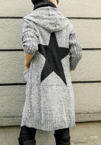 Hellgrau Star Stern Print Taschen Mit Kapuzen Langarm Grobe Oversize Cardigan Strickjacke Strickmantel Damen Mode
